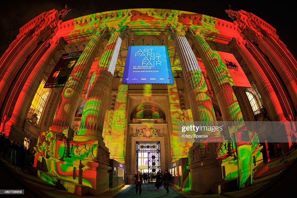 The Origin of the World by Miguel Chevalier is projected onto the Grand Palais during the Paris Art Fair on March 26, 2014 in Paris, France.