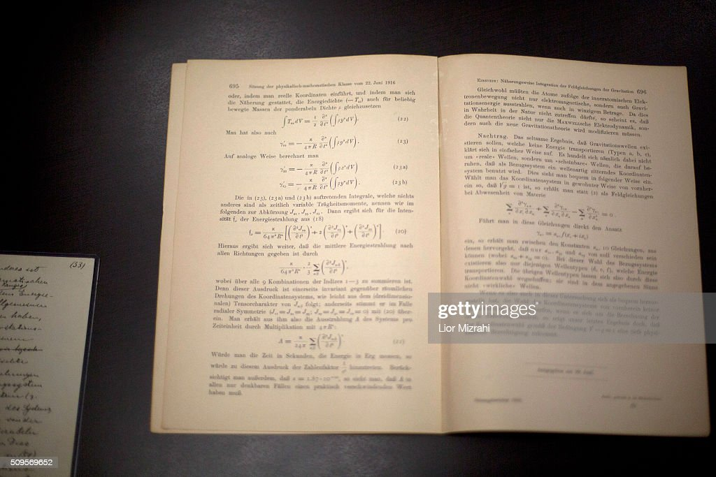 The original 100 year old documents of Albert Einstein's prediction of the existence of gravitational waves are put on display at the Albert Einstein Archives of the Hebrew University on February 11, 2016 in Jerusalem, Israel. This year marks the 100th anniversary of the first publication of Einstein's prediction of the existence of gravitational waves. A group of scientists has recently announced that they have finally discovered evidence of the existence of the waves.
