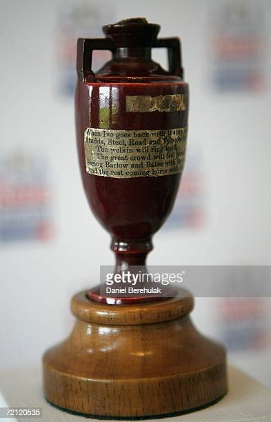 The original Ashes Urn is displayed at Lord's Cricket Gorund on October 9 2006 in London England The MCC Travelex Ashes Exhibition is bound for an...