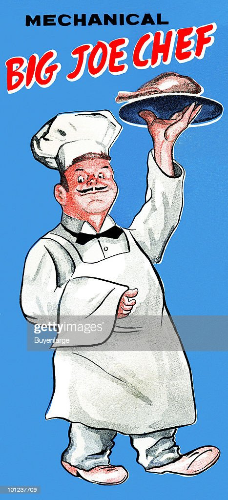 The original box art for a tin toy featuring a chef toy that would walk around with a tray of food like a waiter.