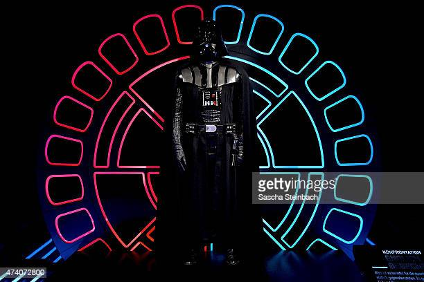 The original costume worn by David Prowse as Darth Vader is seen during the 'Star Wars Identities' Exhibtion Press Preview VIP Opening at Odysseum on...
