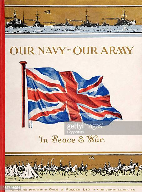 The original cover of a pamphlet titled 'Our Navy Our Army In Peace War' featuring a Union Jack and illustrations of both navy and army activities...