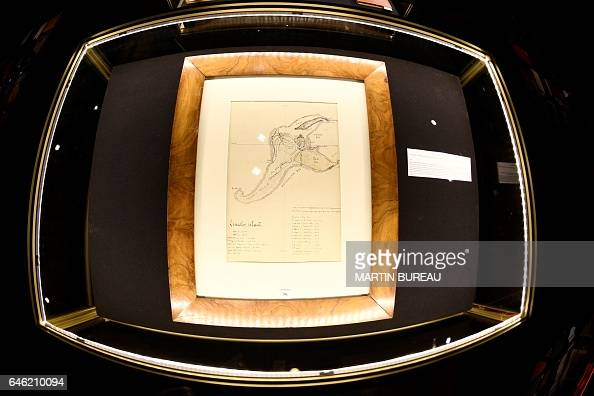 The original drawing of Jules Verne's 'Mysterious Island' is displayed at Drouot auctions on February 28 2017 in Paris / AFP / MARTIN BUREAU /...