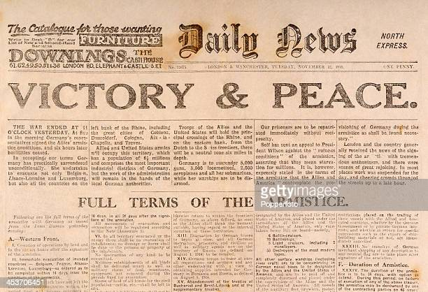 The original front page of the 'Daily News' newspaper announcing Victory Peace following the cessation of hostilities at the conclusion of World War...