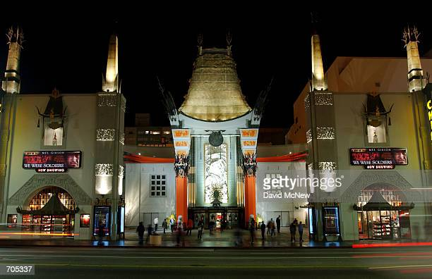 The original Graumans Chinese Theatre forecourt where stars have left their hand and foot prints in concrete for some 80 years stands at the new...