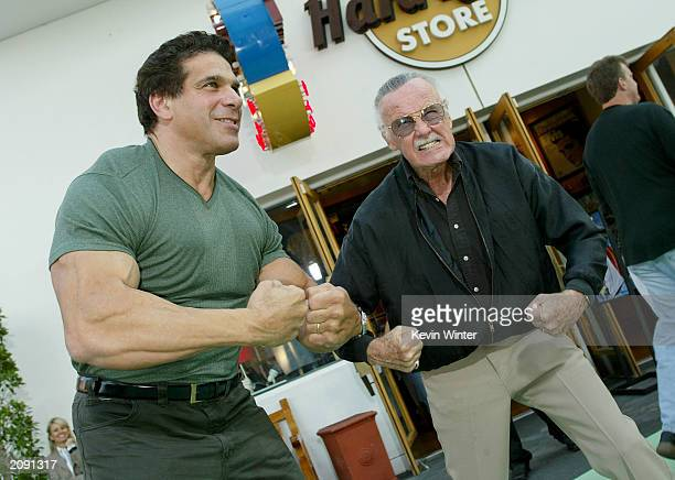 The original Hulk Lou Ferrigno and Marvel Comics Stan Lee attend the world premiere of the movie 'The Hulk' at Universal Studios on June 17 2003 in...
