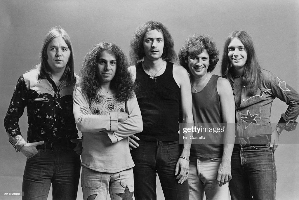 The original line-up of British rock group Rainbow, Los Angeles, California, June 1975. Left to right: drummer Gary Driscoll (1946 - 1987), singer Ronnie James Dio (1942 - 2010), guitarist and songwriter Ritchie Blackmore, keyboard player Mickey Lee Soule and bassist Craig Gruber (1951 - 2015).