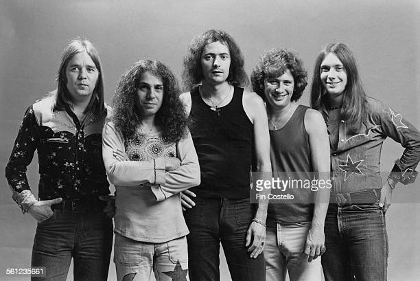 The original lineup of British rock group Rainbow Los Angeles California June 1975 Left to right drummer Gary Driscoll singer Ronnie James Dio...