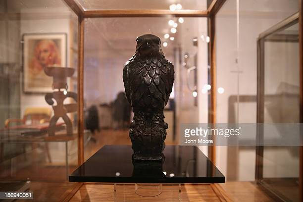 The original Maltese Falcon stands on display before being auctioned by the Guernsey's Auction House on November 4 2013 in New York City The...