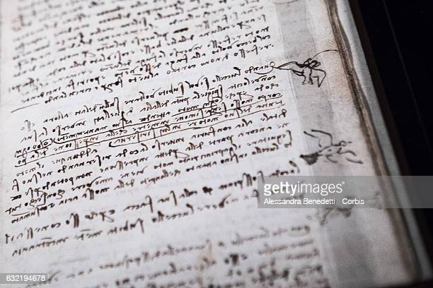 The Original Manuscript of Leonardo da Vinci's Codex on flight of birds is on display at Rome's Capitolium Museums on January 20 2017 in Rome Italy...