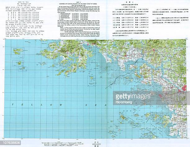 The original map showing the sea border drawn up in 1953 between North and South Korea is seen in this scan made on Dec 3 2010 The map shows that...
