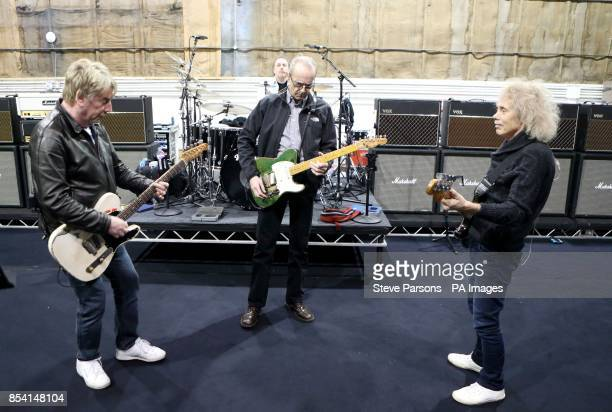 The original members of Status Quo Rick Parfitt Francis Rossi Alan Lancaster and John Coghlan practice at Sheperton Studios in Surrey ahead of...
