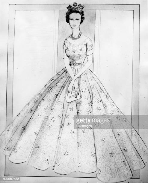 The original Norman Hartnell drawing for the dress Princess Alexandra wore at the Coronation of Queen Elizabeth II It is a Diaphanous dress of white...