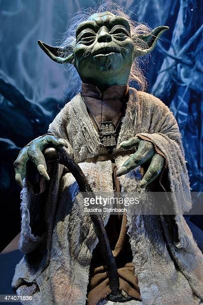 The original puppet operated by Frank Oz as Yoda attends the 'Star Wars Identities' Exhibtion Press Preview VIP Opening at Odysseum on May 20 2015 in...