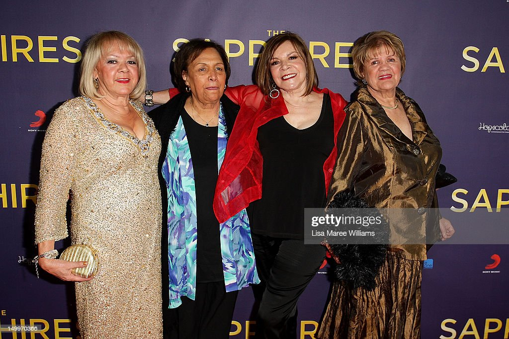 The original Sapphire's; Laurel Robinson, Naomi Mayers, Lois Peeler and Beverly Briggs pose on the red carpet at the Sydney Premiere of The Sapphires at State Theatre on August 8, 2012 in Sydney, Australia.