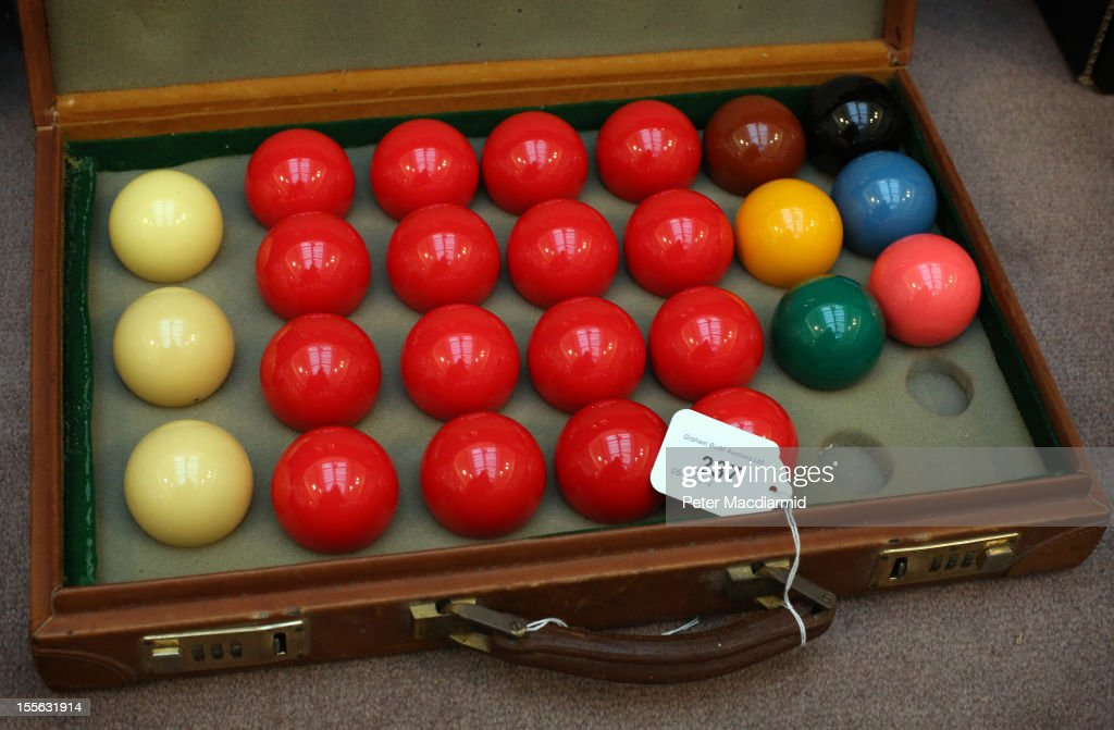 The original set of snooker balls used by Steve Davis when he achieved the first televised 147 break in 1982 is shown on November 6, 2012 in London, England. Graham Budd auctioneers are holding a two day sale of Sporting Memorabilia at Sotheby's in London on 5-6th November 2012.