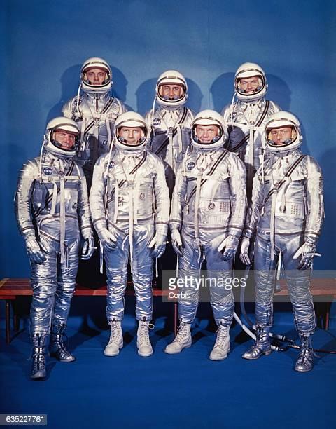 The original seven Project Mercury astronauts front row left to right are Walter M Schirra Jr Donald 'Deke' K Slayton John Glenn Jr and M Scott...