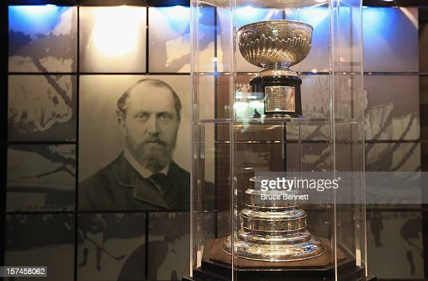 The original Stanley Cup along with a portrait of Lord Stanley of Preston resides in a vault beside the Great Hall prior to the HHoF induction press...