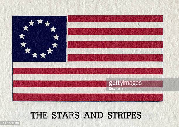 The original Stars Stripes ca 1777 with 13 stripes and 13 stars the American Flag From an undated illustration