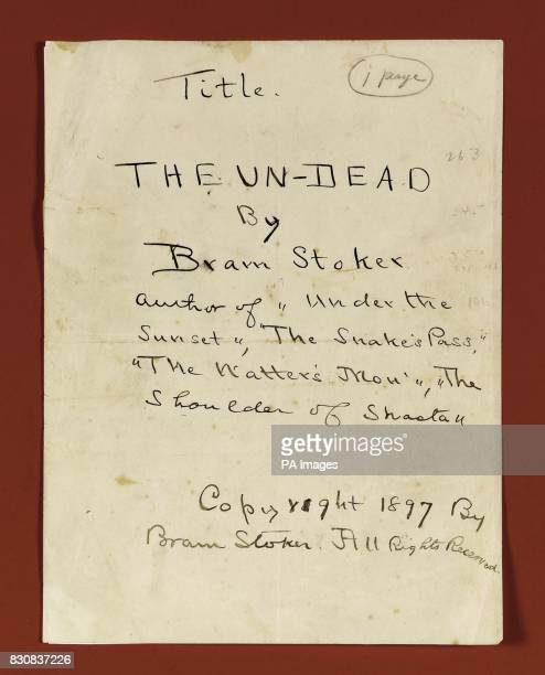 The original title page of horror classic Dracula Bram Stoker's manuscript is expected to fetch 11 million when it goes under the hammer next month...