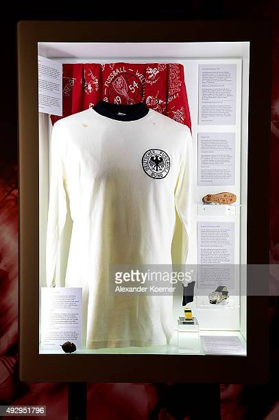 The Original Trikot of Franz Beckenbauer from the Soccer World Cup 1974 is seen prior the opening of the exhibiton 'Fussball Halleluja' inside Focke...