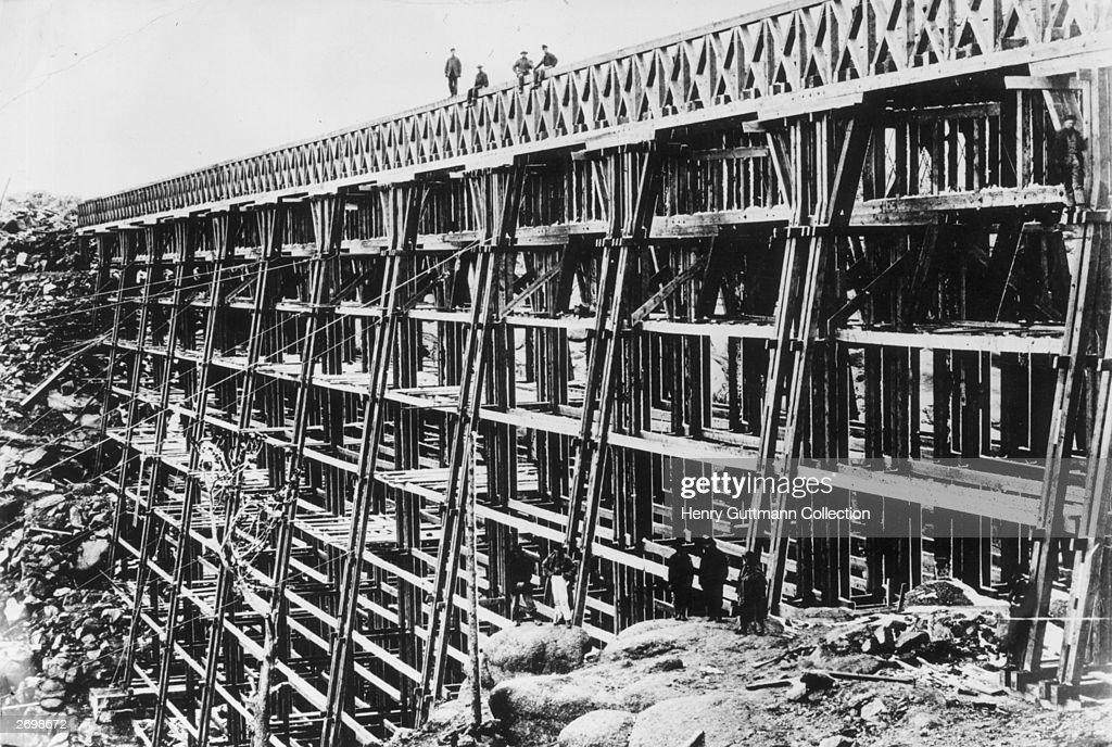 The original wooden viaduct at Dale Creek Wyoming built for the Union Pacific railroad It was later replaced by a steel construction before the route...