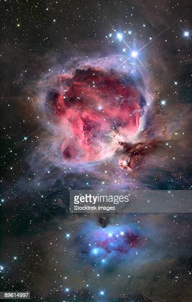The Orion Nebula (also known as Messier 42, M42, or NGC 1976) is a diffuse nebula situated south of Orion's Belt. It is one of the brightest nebulae, visible to the naked eye in the night sky, and is about 24 light years across.