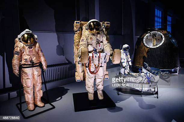 The Orlan Mars 500 extravehicular activity suit the Orlan DM18 extravehicular activity spacesuit 1988 with the 21KS manned manoeuvring unit Helen...