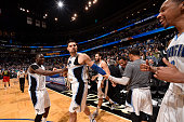 The Orlando Magic celebrate Nikola Vucevic making the game winning shot against the Atlanta Hawks on February 7 2016 at the Amway Center in Orlando...