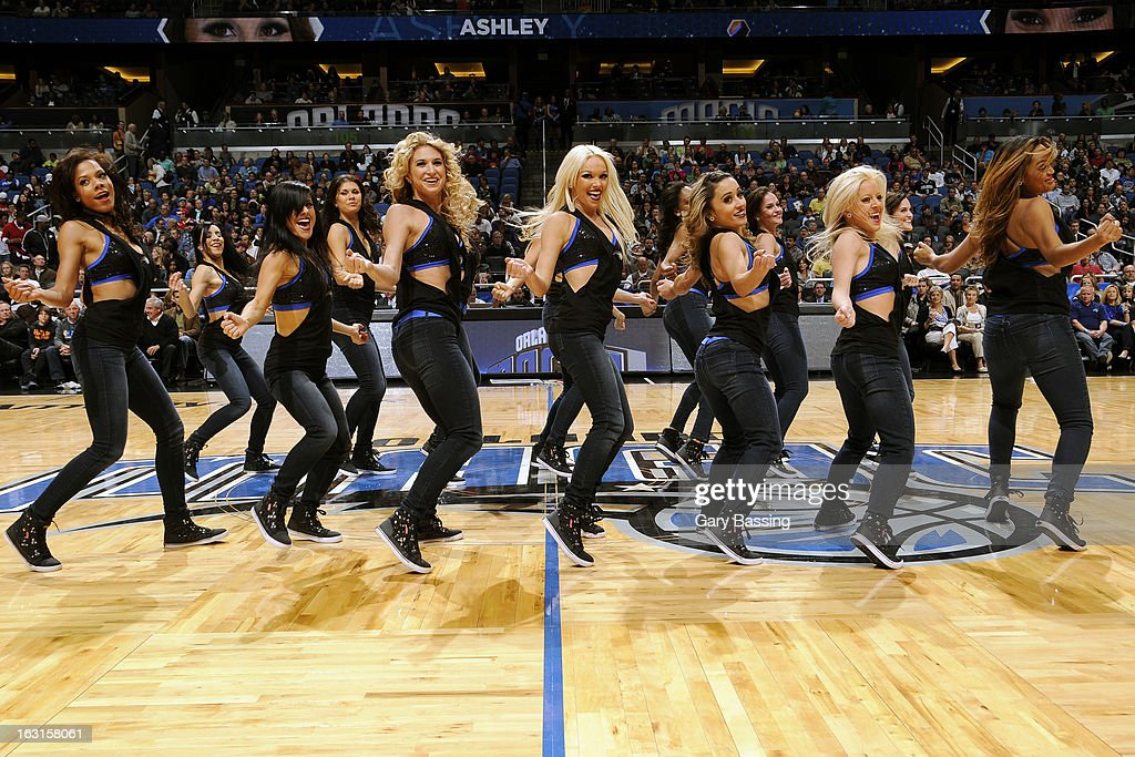 The Orlando Magic dance team performs during the game against the Houston Rockets on March 1, 2013 at Amway Center in Orlando, Florida.