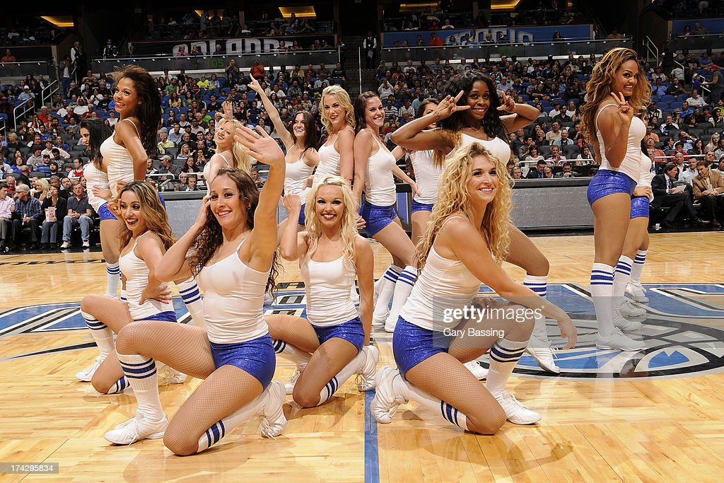 The Orlando Magic dance team poses during the game against the Portland Trail Blazers on February 10, 2013 at Amway Center in Orlando, Florida.