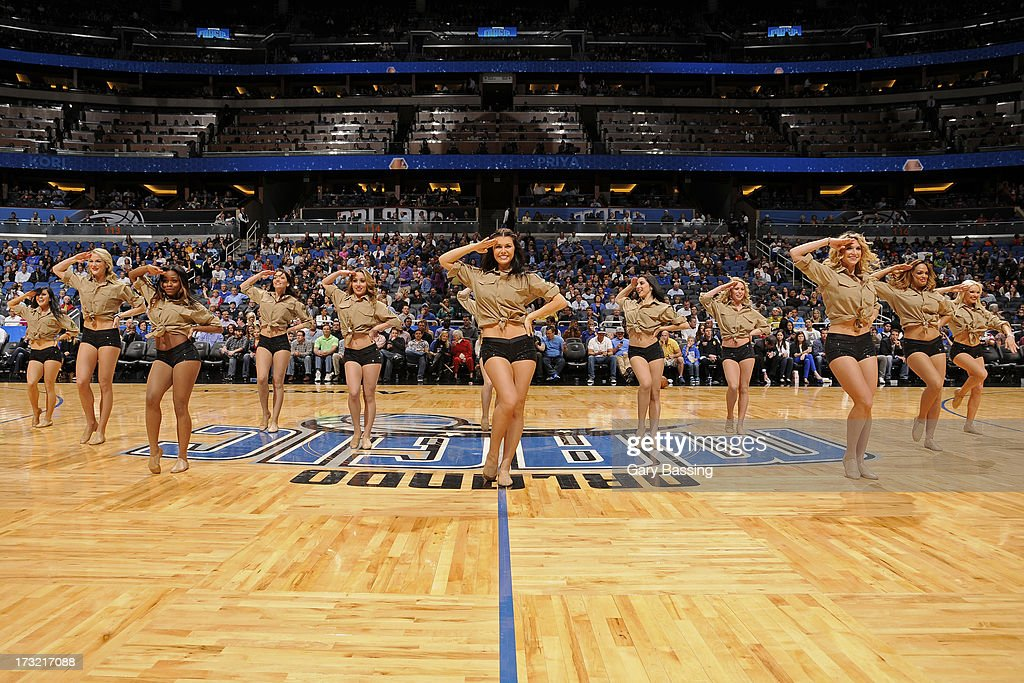 The Orlando Magic dancers perform during a break in the game against the Toronto Raptors on January 24, 2013 at Amway Center in Orlando, Florida.