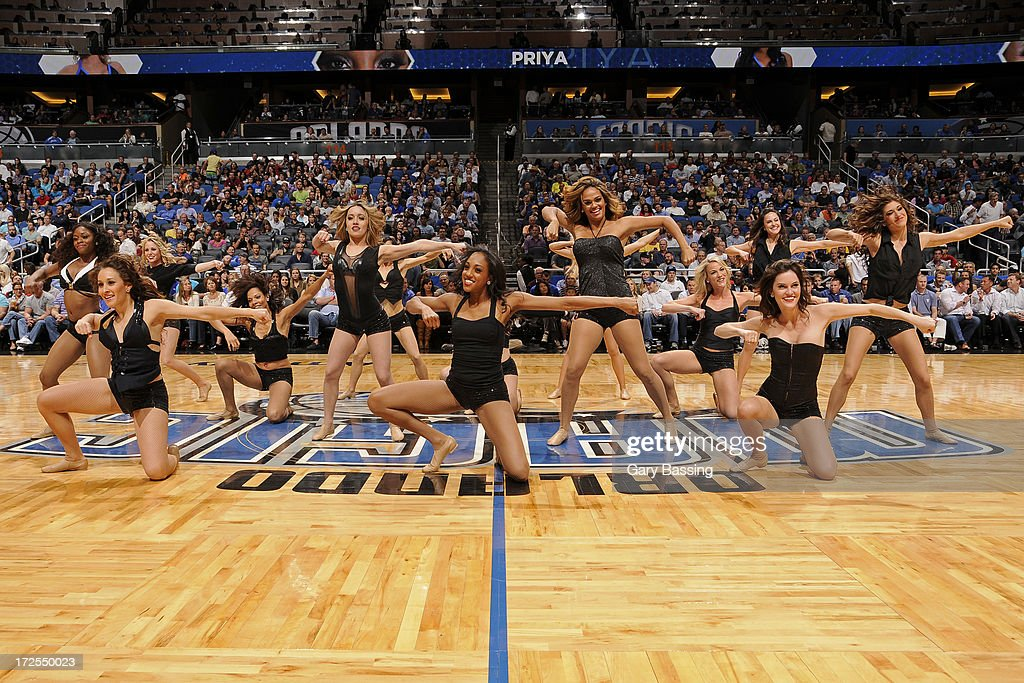 The Orlando Magic dancers perform during halftime of a game against the Indiana Pacers on January 16, 2013 at Amway Center in Orlando, Florida.