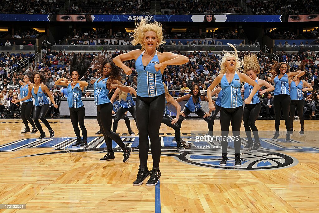 The Orlando Magic dancers perform during halftime of a game played against the Charlotte Bobcats on January 18, 2013 at Amway Center in Orlando, Florida.