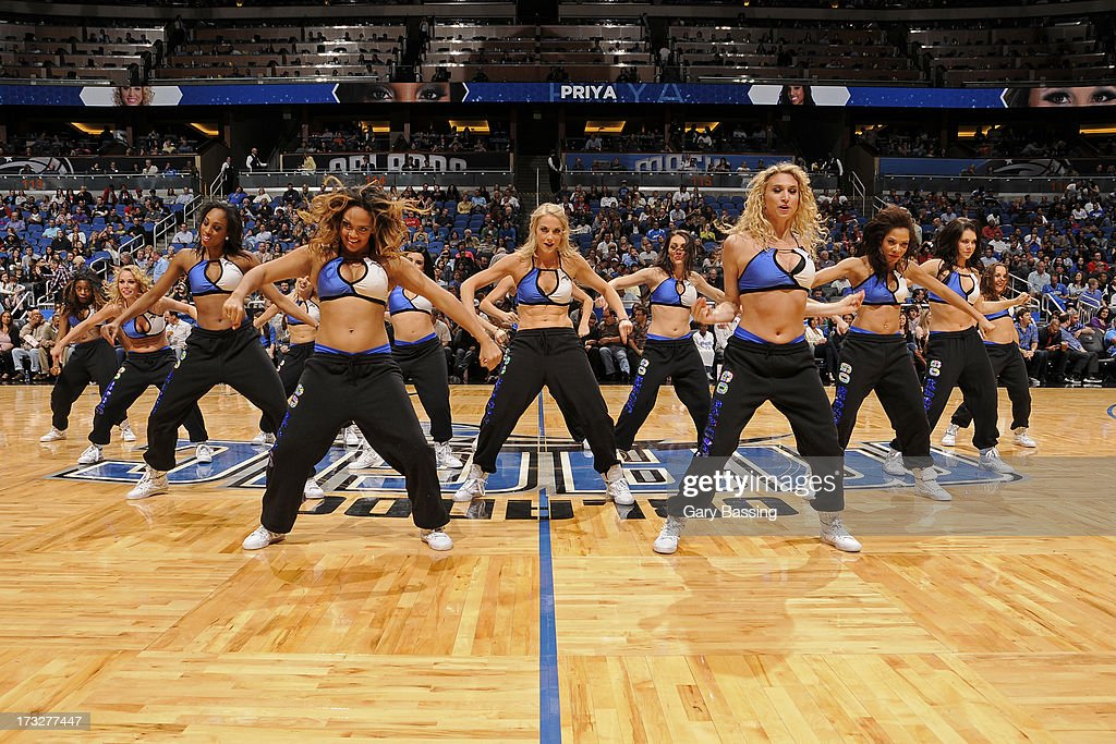The Orlando Magic dancers perform during halftime of the game between the Magic and Indiana Pacers on March 8, 2013 at Amway Center in Orlando, Florida.