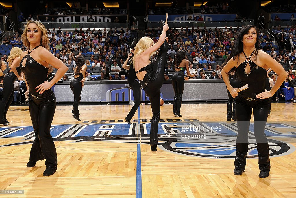 The Orlando Magic dancers perform during halftime of the game on January 2, 2013 at Amway Center in Orlando, Florida.