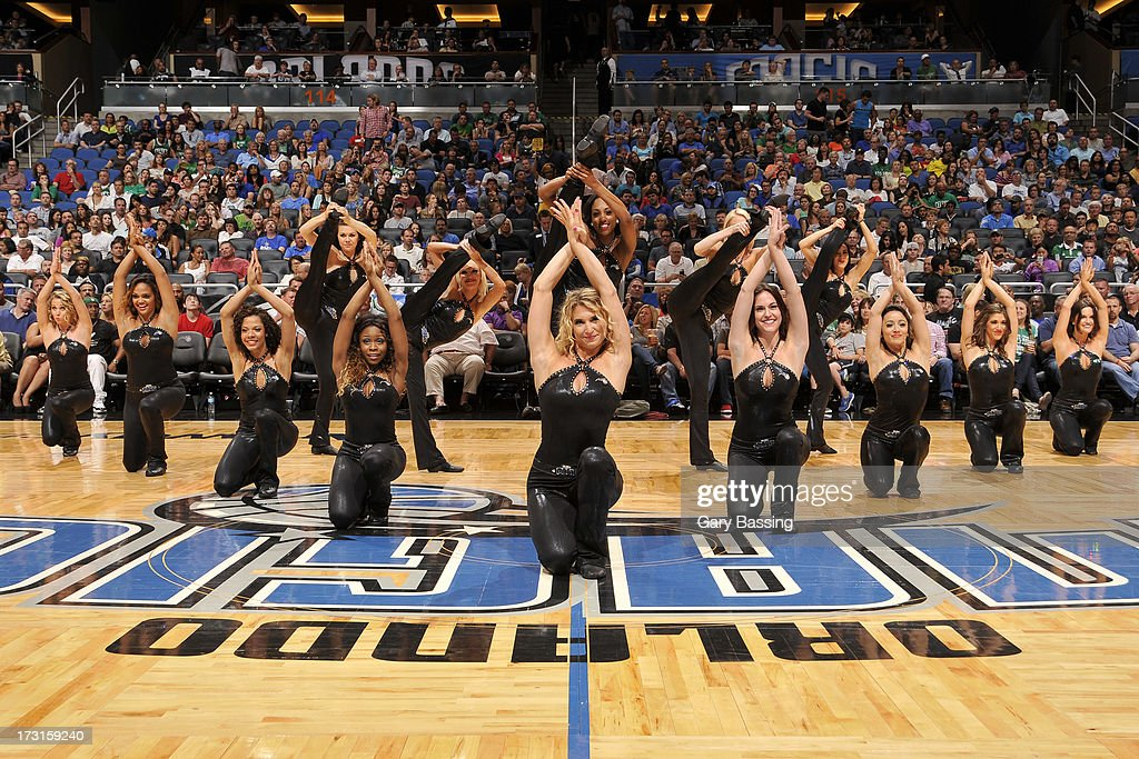 The Orlando Magic Dancers perform during the game between the Boston Celtics and the Orlando Magic on April 13, 2013 at Amway Center in Orlando, Florida.