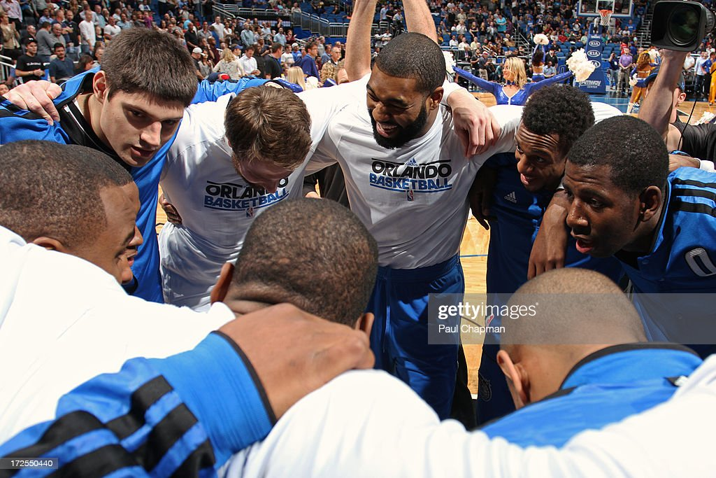 The Orlando Magic huddle before a game against the Indiana Pacers on January 16, 2013 at Amway Center in Orlando, Florida.