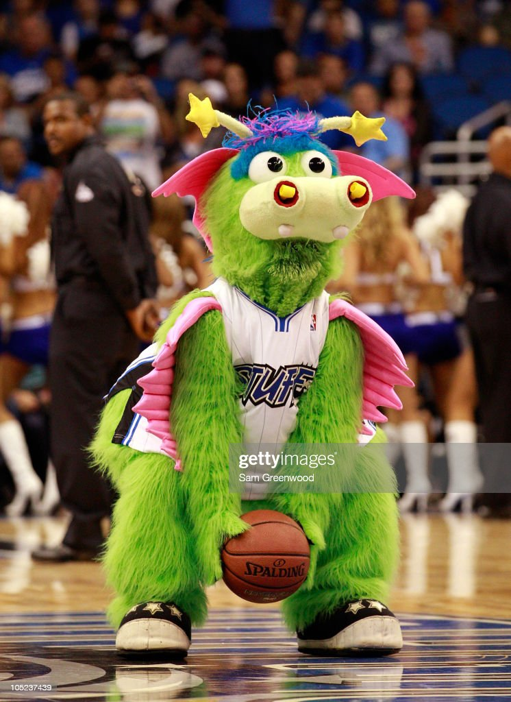 The Orlando Magic mascot 'Stuff' attempts a shot during the game against the New Orleans Hornets at Amway Arena on October 10, 2010 in Orlando, Florida.
