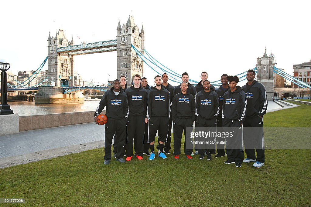 The Orlando Magic poses for a team photo as part of the 2016 Global Games London on January 13, 2016 at the Tower Bridge in London, England.