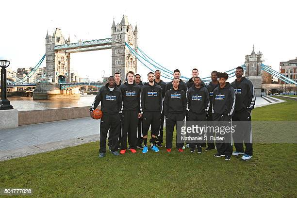 The Orlando Magic poses for a team photo as part of the 2016 Global Games London on January 13 2016 at the Tower Bridge in London England NOTE TO...