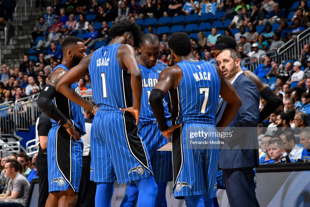 The Orlando Magic review plays with head coach Frank Vogel of the Orlando Magic during the game against the San Antonio Spurs on October 27, 2017 at Amway Center in Orlando, Florida.