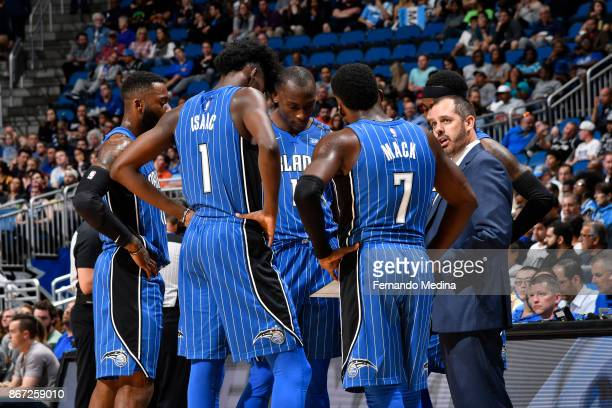 The Orlando Magic review plays with head coach Frank Vogel of the Orlando Magic during the game against the San Antonio Spurs on October 27 2017 at...