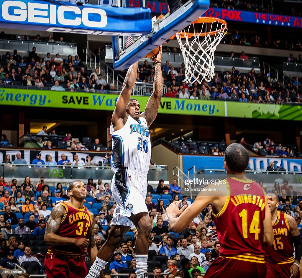 The Orlando Magic's DeQuan Jones (20) dunks the ball during third-quarter action against the Cleveland Cavaliers at Amway Center in Orlando, Florida, on Saturday, February 23, 2013. Cleveland topped Orlando, 118-94.