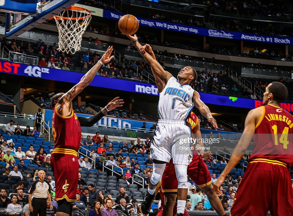 The Orlando Magic's Doron Lamb (1) goes up to for a layup during fourth-quarter action against the Cleveland Cavaliers at Amway Center in Orlando, Florida, on Saturday, February 23, 2013. Cleveland topped Orlando, 118-94.