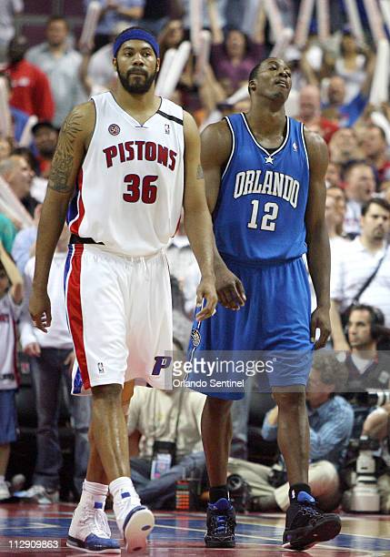 The Orlando Magic's Dwight Howard shows his frustration during the final minute of a 9186 loss to the Detroit Pistons in Game 5 of the NBA Eastern...