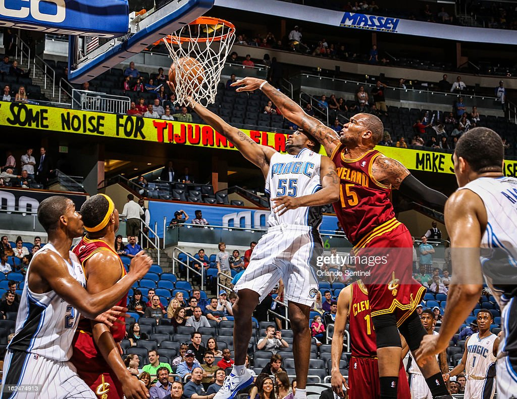 The Orlando Magic's E'Twaun Moore (55) goes up to for a layup during fourth-quarter action against the Cleveland Cavaliers at Amway Center in Orlando, Florida, on Saturday, February 23, 2013. Cleveland topped Orlando, 118-94.