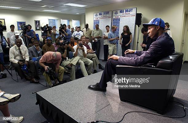 The Orlando Magic's first overall pick of the 2004 NBA Draft Dwight Howard meets with the media during a press conference at TD Waterhouse Centre on...