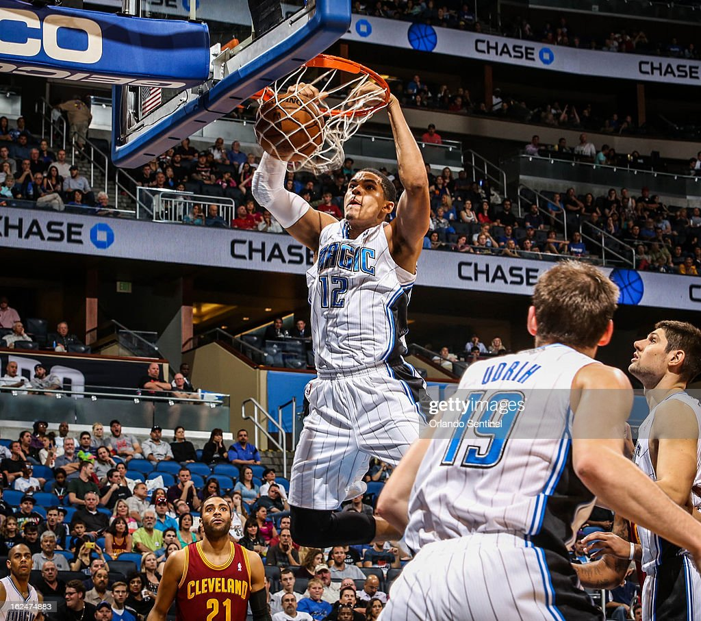 The Orlando Magic's Tobias Harris (12) dunks the ball during fourth-quarter action against the Cleveland Cavaliers at Amway Center in Orlando, Florida, on Saturday, February 23, 2013. Cleveland topped Orlando, 118-94.