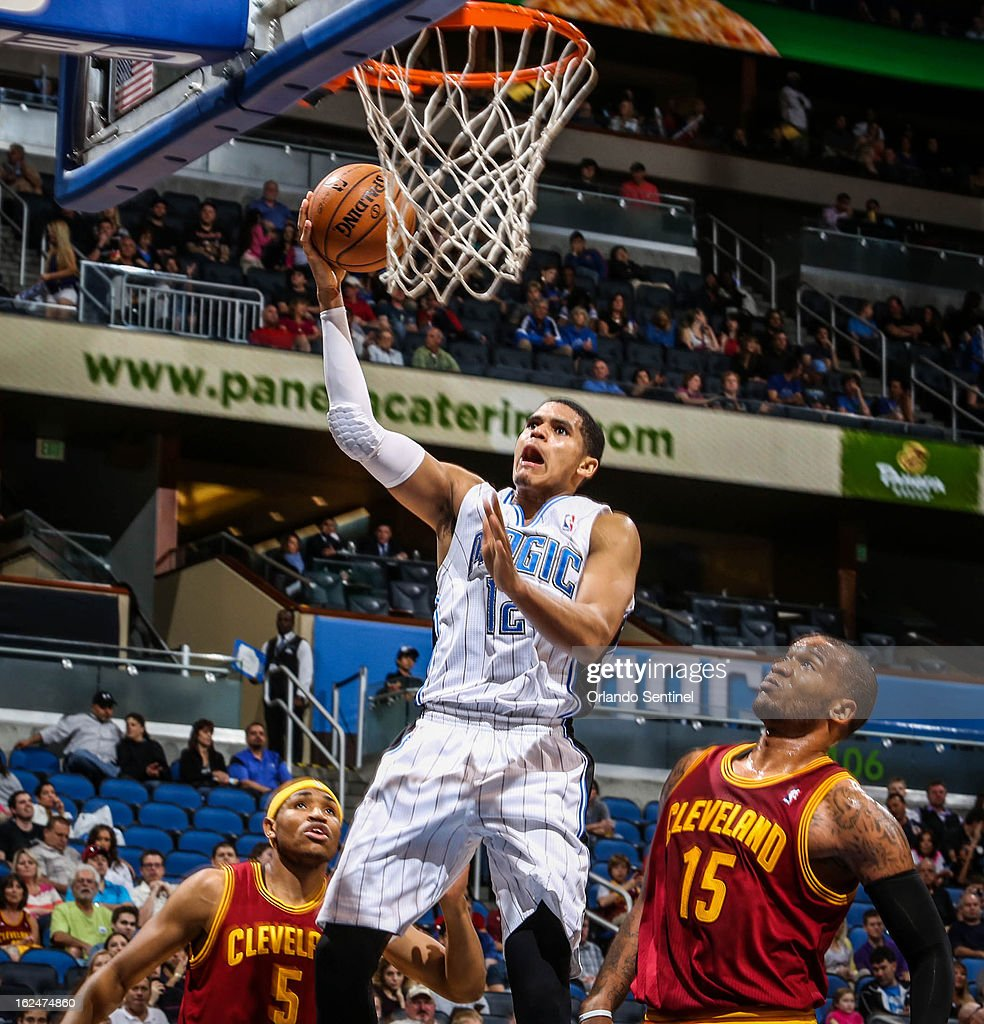 The Orlando Magic's Tobias Harris (12) goes up to the basket during fourth-quarter action against the Cleveland Cavaliers at Amway Center in Orlando, Florida, on Saturday, February 23, 2013. Cleveland topped Orlando, 118-94.